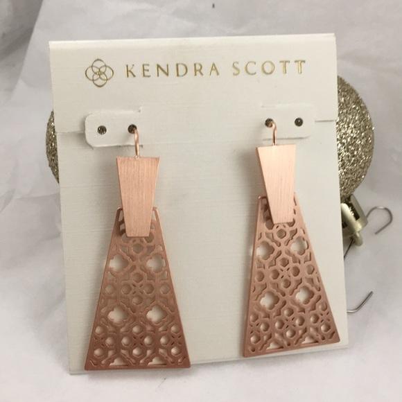 Kendra Scott Signed Keerti Drop Earrings Rose Gold